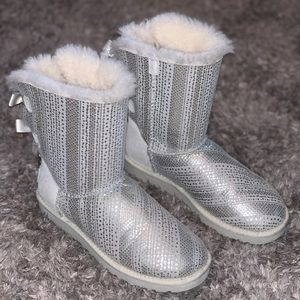 UGG Winter White/Silver Bailey Bow with Crystals
